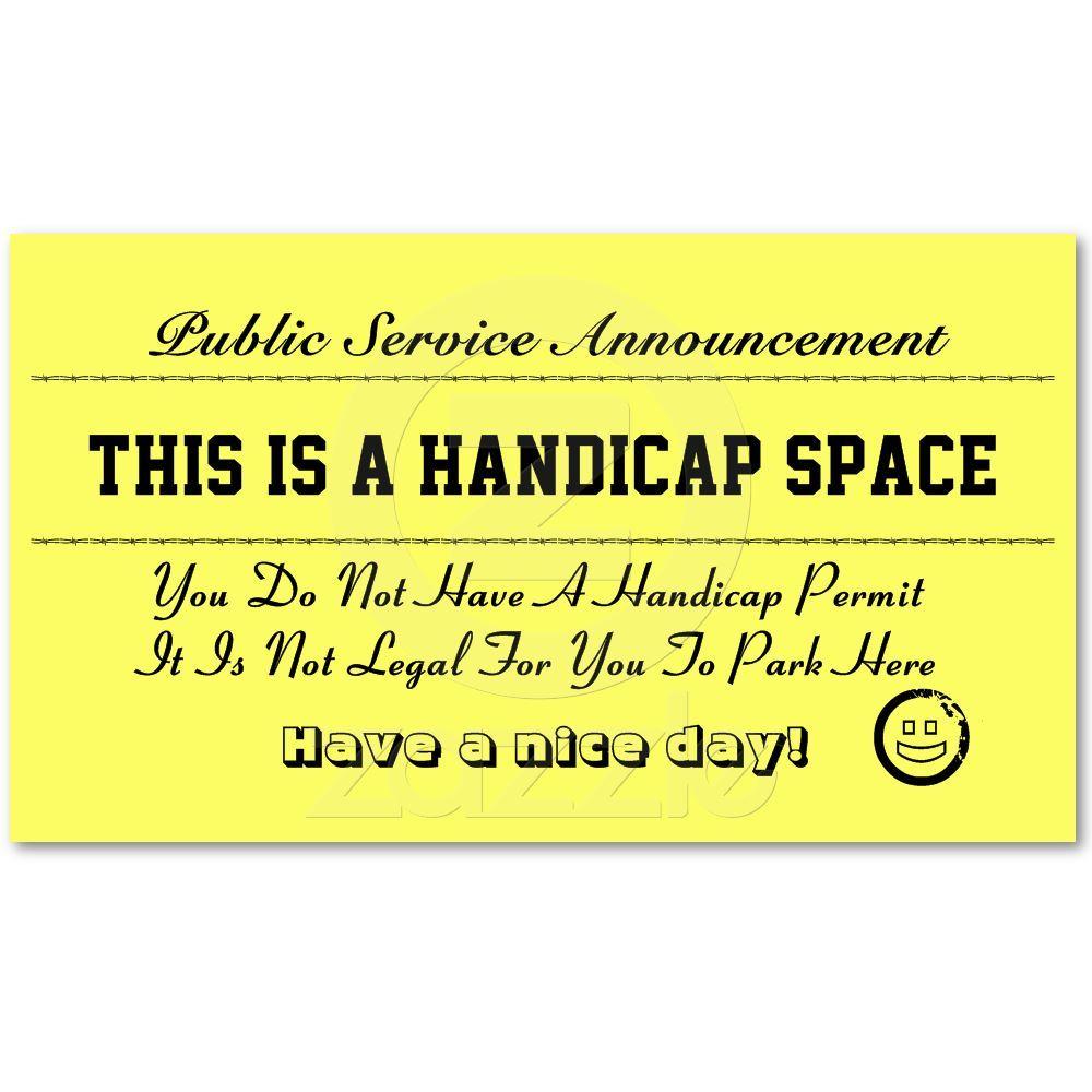 Handicap Parking Notice Cards Zazzle Com Handicap Ms Awareness Multiple Sclerosis