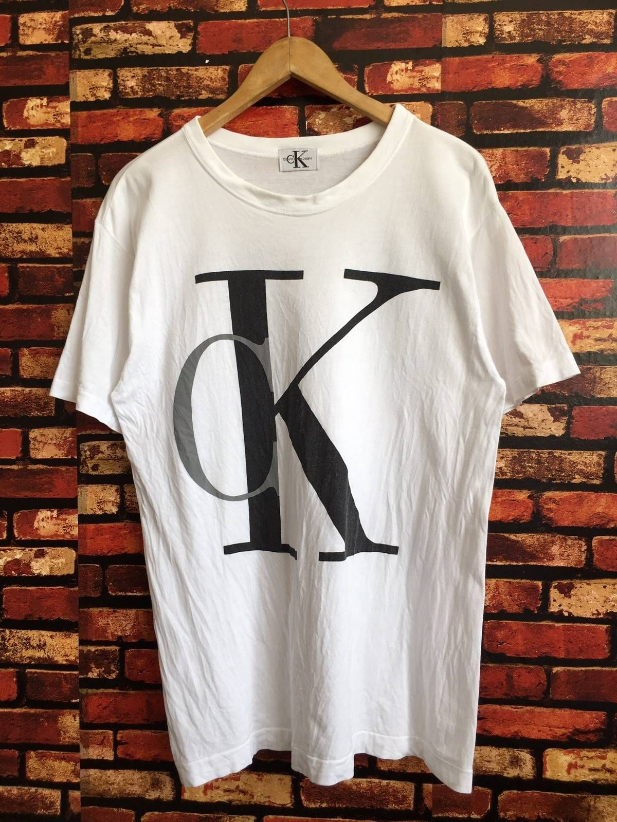 Calvin Klein Vintage 90s Calvin Klein White Tshirt Biglogo Size M Grailed Calvin Klein Calvin Klein Outfits T Shirts For Women