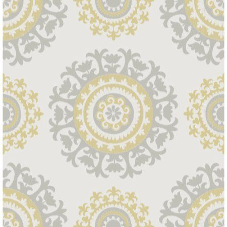 Wallpops 30 75 Sq Ft Grey And Yellow Suzani Peel And Stick Wallpaper Nu1652 The Home De Nuwallpaper Peel And Stick Wallpaper Grey Bedroom With Pop Of Color