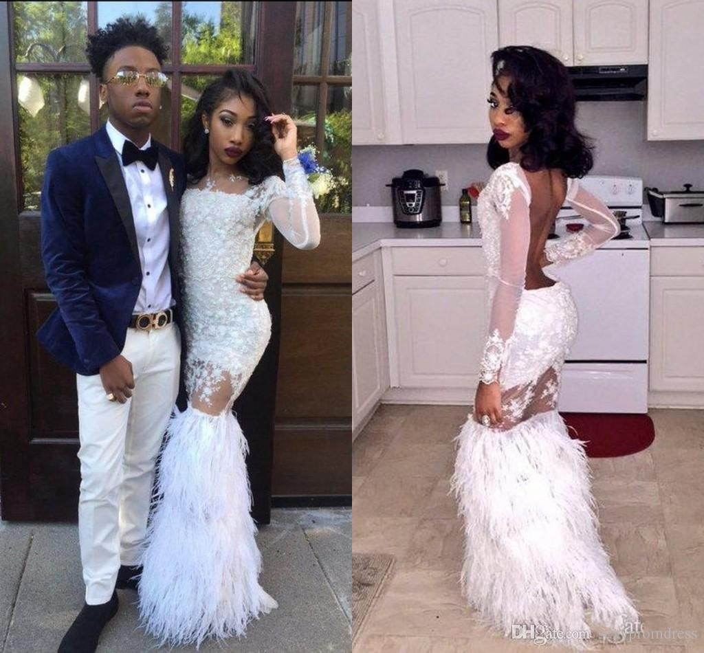 0c97376faeb 2k17 White Mermaid Prom Dresses Sexy Black African Girls Party Dresses Long  Sleeves Backless Lace Feather Long Evening Gowns Formal Wear Prom Dresses  2010 ...