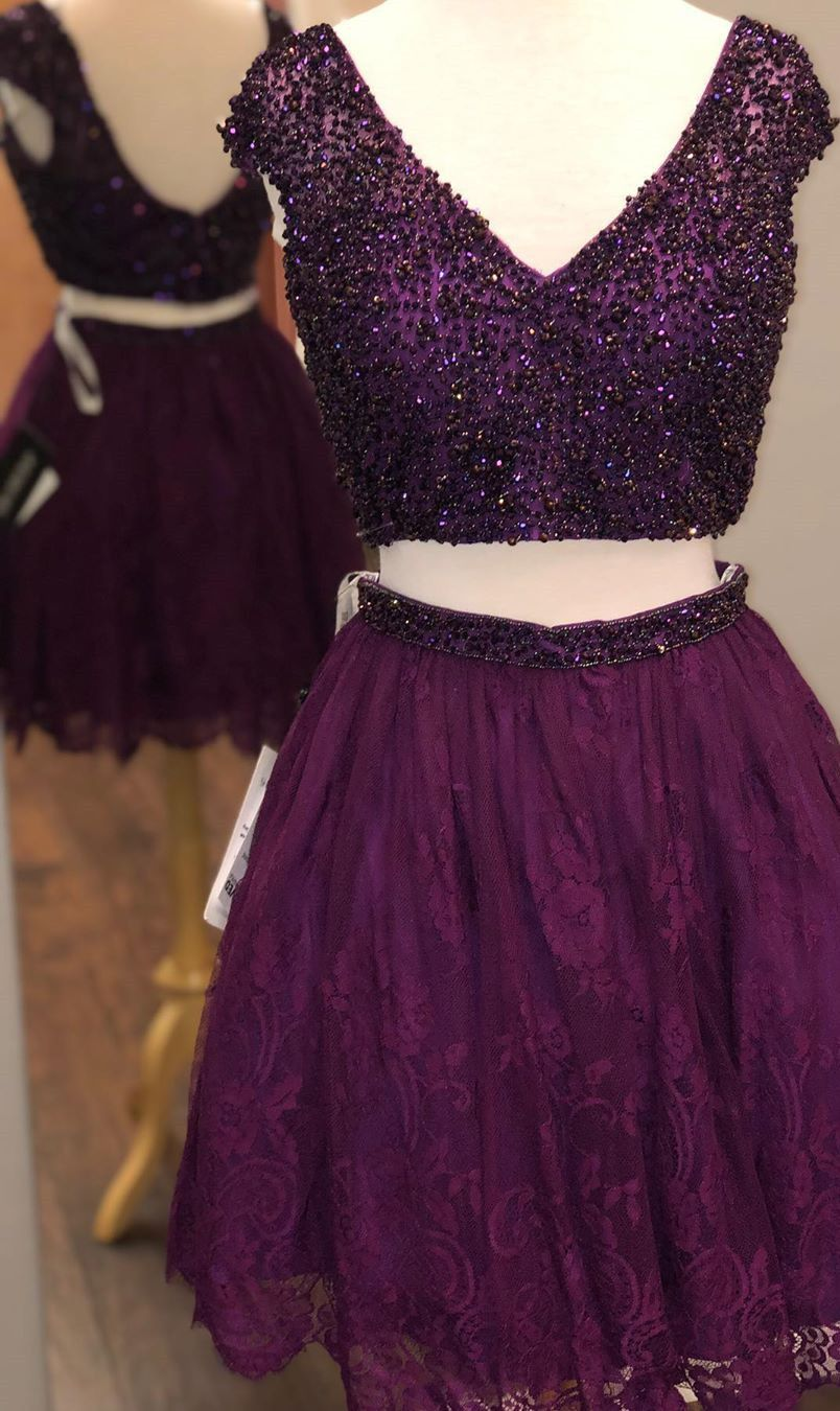 Cute Two Piece Short Homecoming Dress From Ladyboutiques Purple Prom Dress Elegant Homecoming Dresses Pretty Homecoming Dresses [ 1350 x 804 Pixel ]