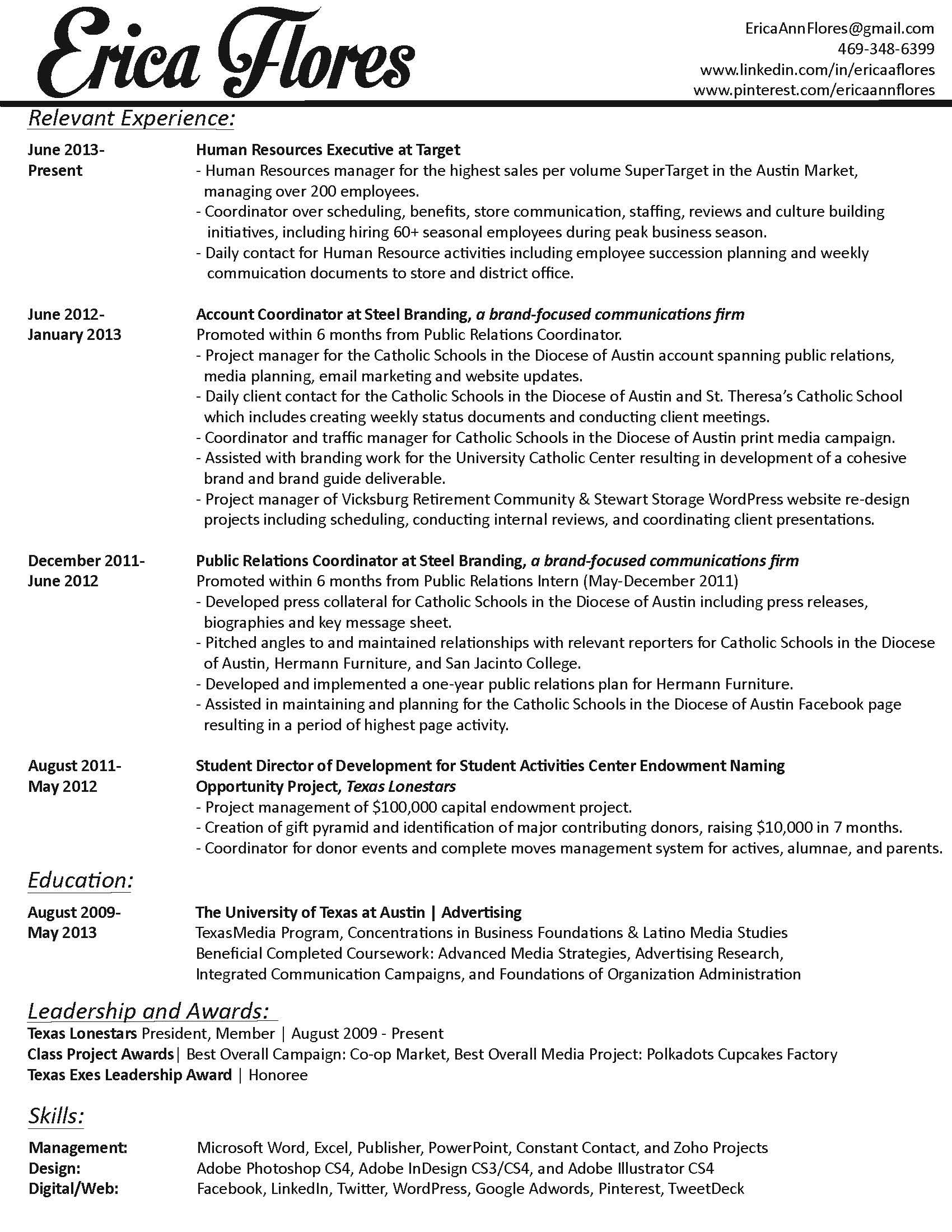 Relevant Experience Resume Relevant Experience And Educational Background#humanresources