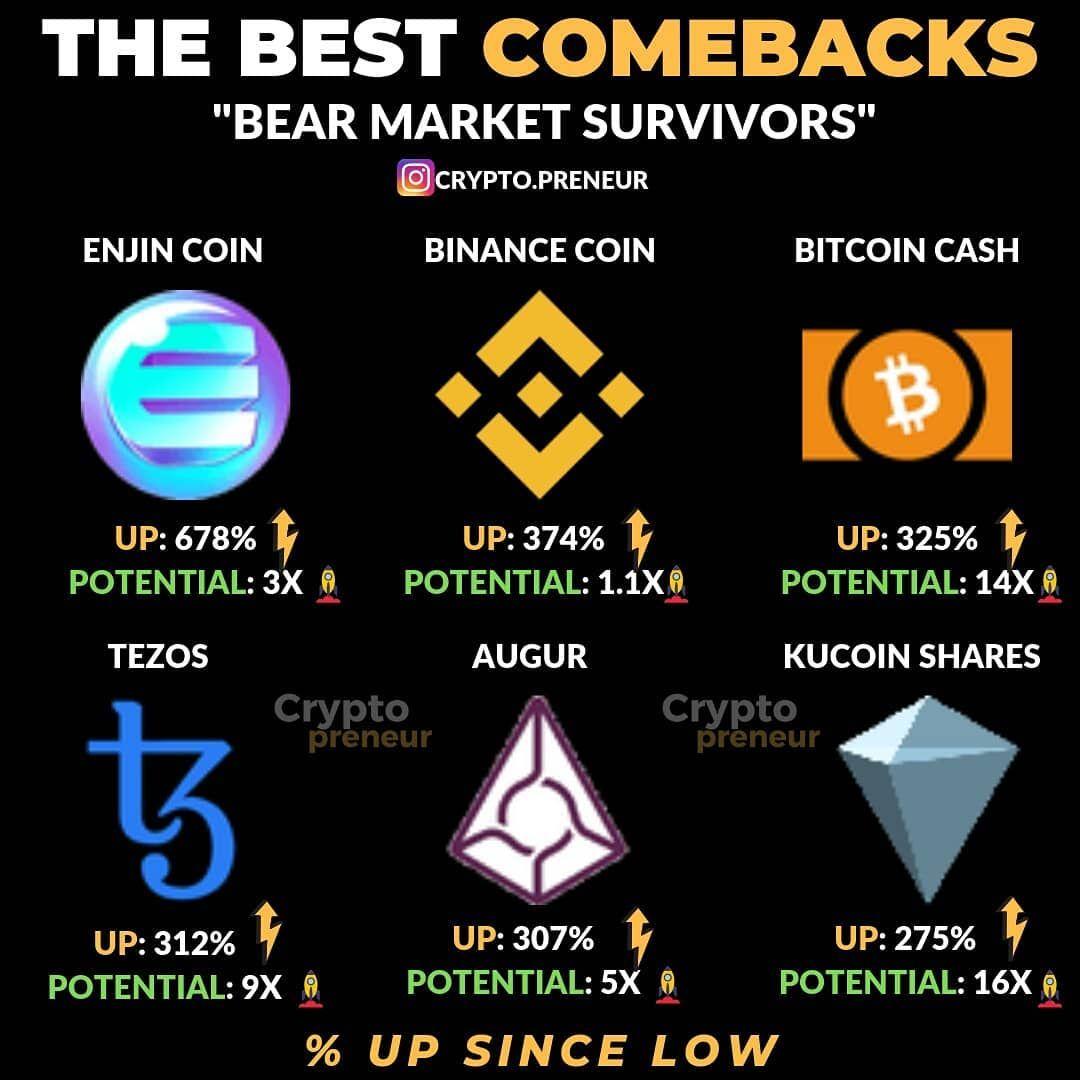 The Best Comebacks Bears Market Survivors Binance Bnb Bch Tezos Augur Enjin Coin Kucoin Bitcoin Bear Market Bitcoin Cash