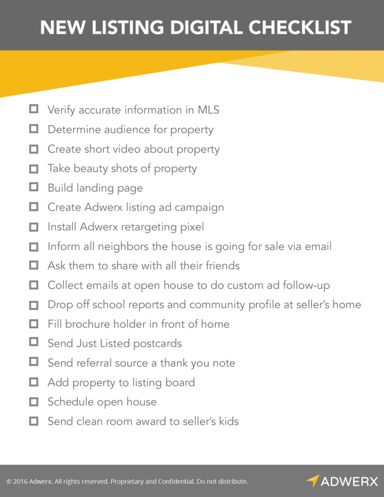 Digital Marketing Checklist For New Real Estate Listings Agente Inmobiliario Comercializacion De Inmuebles Marketing Inmobiliario