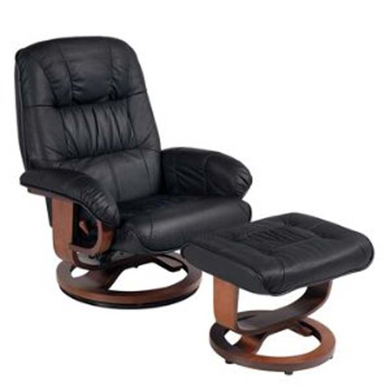 Black recliner with ottoman with images black leather