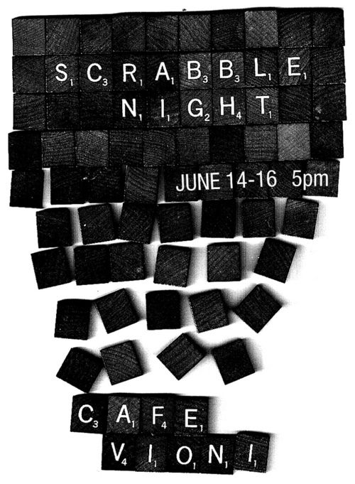 very cool event poster for Cafe Vioni\u0027s Scrabble Night! THE