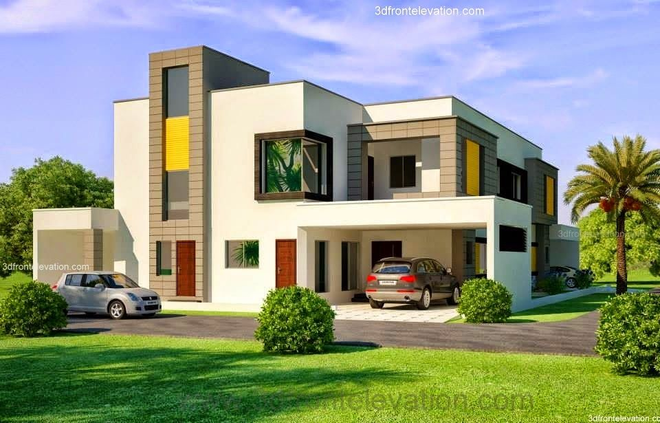 Beautiful House Designs Pictures Part - 44: 1 Kanal Corner Plot @ 2 House Design Lahore Beautiful House 1 Kanal Modern  3D Front