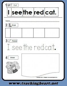 Free Printable Sight Word Pre-Primer Dolch Activity Sheet.  Read, Cut, Glue, Trace, and Draw Practice with sight words from Teaching Heart.  www.teachingheart...