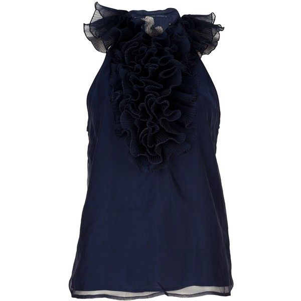 RALPH LAUREN BLUE sleeveless ruffled top ($500) ❤ liked on Polyvore