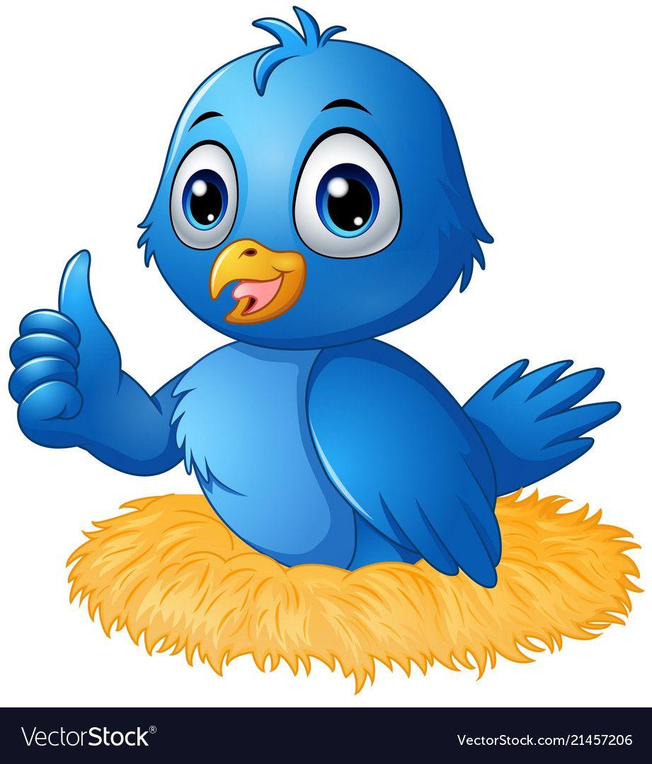 Illustration Of Cute Blue Bird Cartoon Giving A Thumbs Up In The Nest Download A Free Preview Or High Quality Ado Bird Cartoon Cartoon Birds Bird Clipart Cute