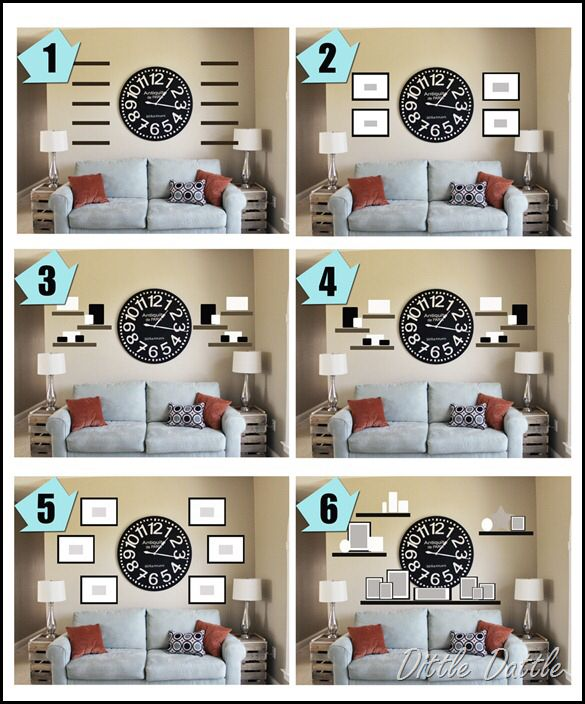 Wall Collage Idea With A Clock As The Center Wall Decor Ideas
