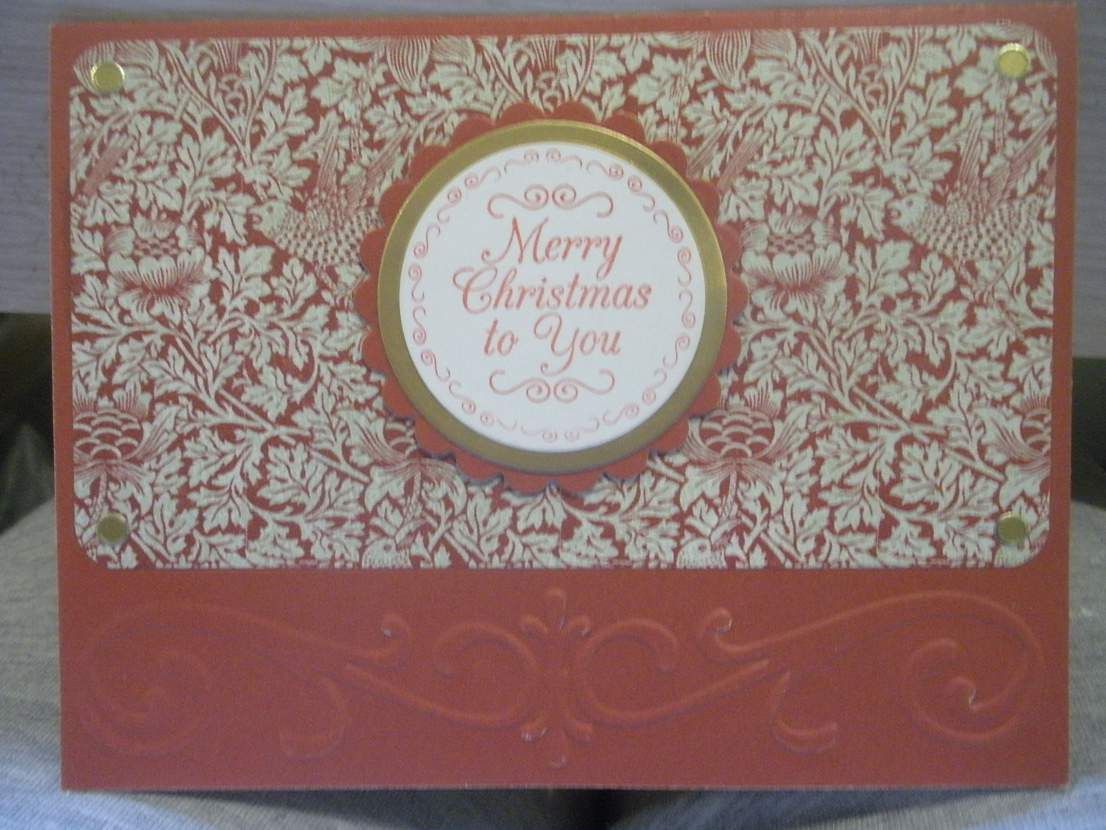 Christmas card with Just Rite stamp & border embossing folder