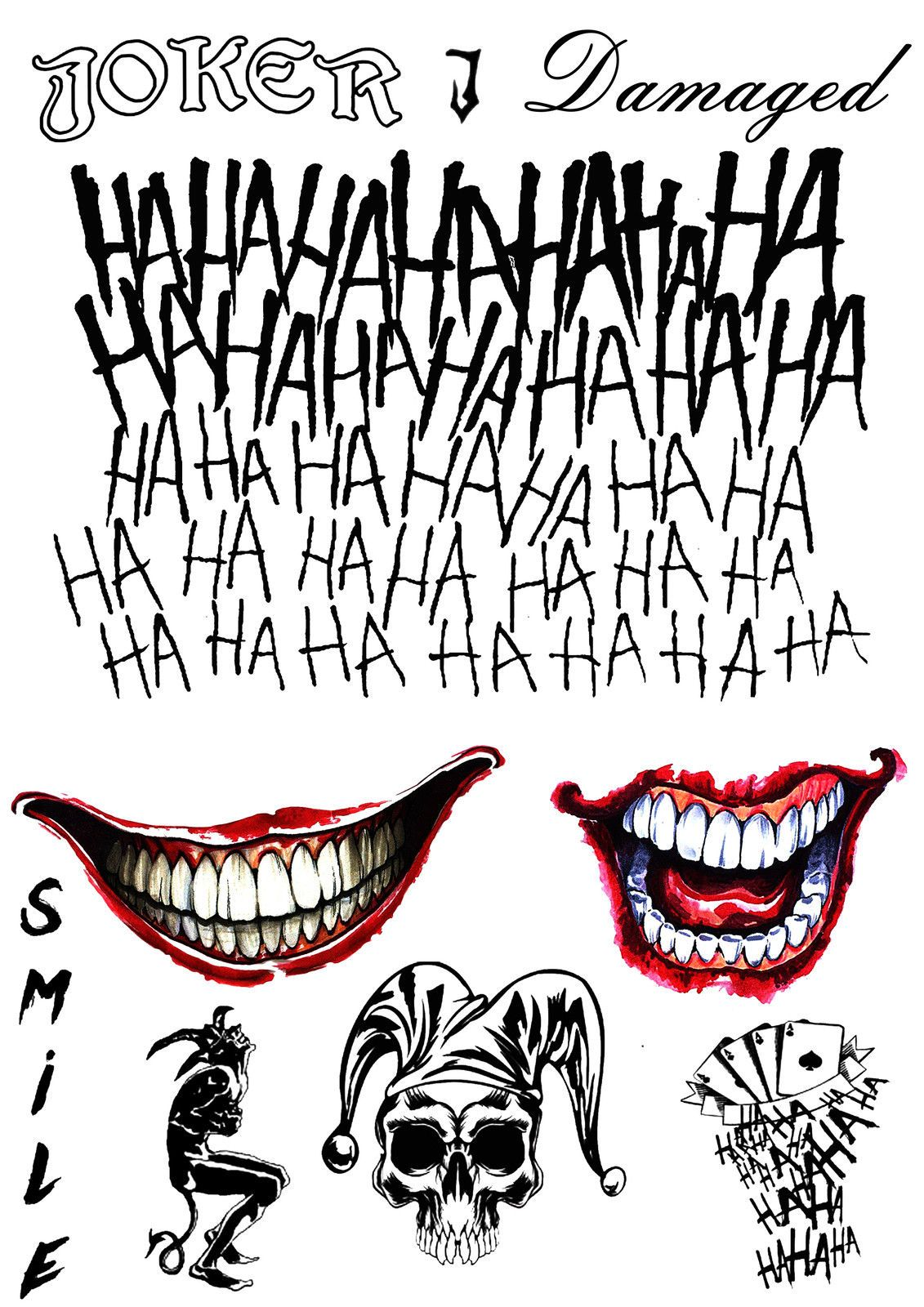 The Joker Temporary Tattoos Suicide Squad Costume ...