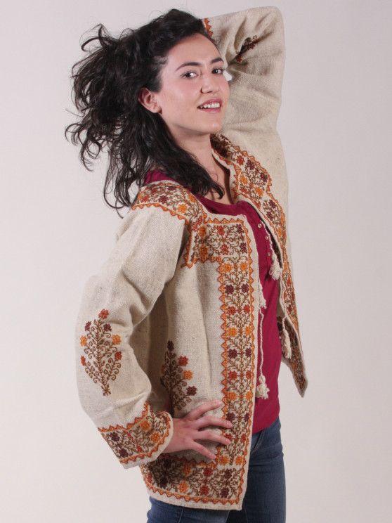 Saco bordado elaborado con tela 100 lana bordada a mano - Tela de saco ...