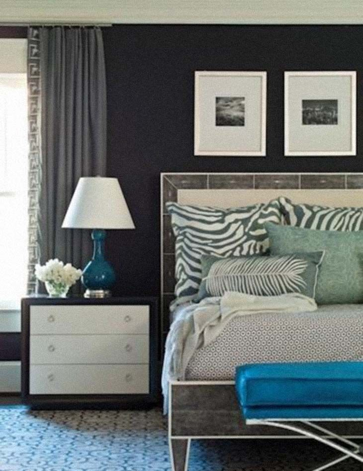 Brian Watford Interiors Gorgeous Blue Gray Bedroom Design With Deep Dark Walls Teal Accents And Silk Drapes Try Devine Macaw For A Nave Or