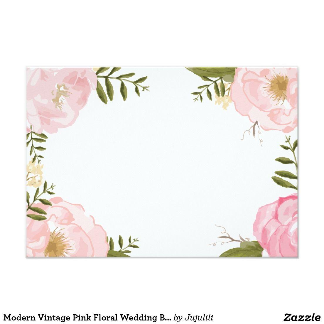 Modern vintage pink floral wedding blank card floral for Wedding invitation designs fuchsia pink