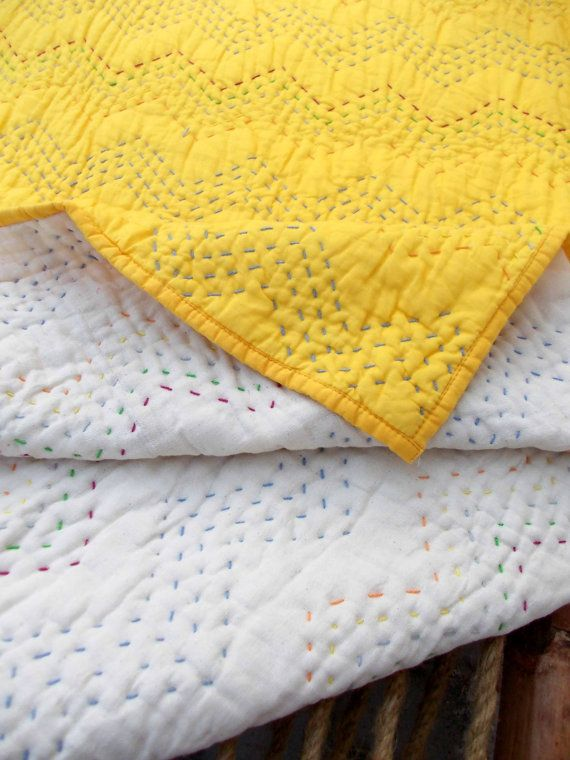 Yellow Quilted Bedspread Chevron Pattern Zig Zag Quilting Etsy Quilted Bedspreads Yellow Quilts Kantha Baby Quilt