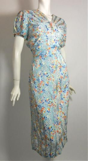 Bright cheery floral 1930s dress in a  matte/satin finish striped rayon