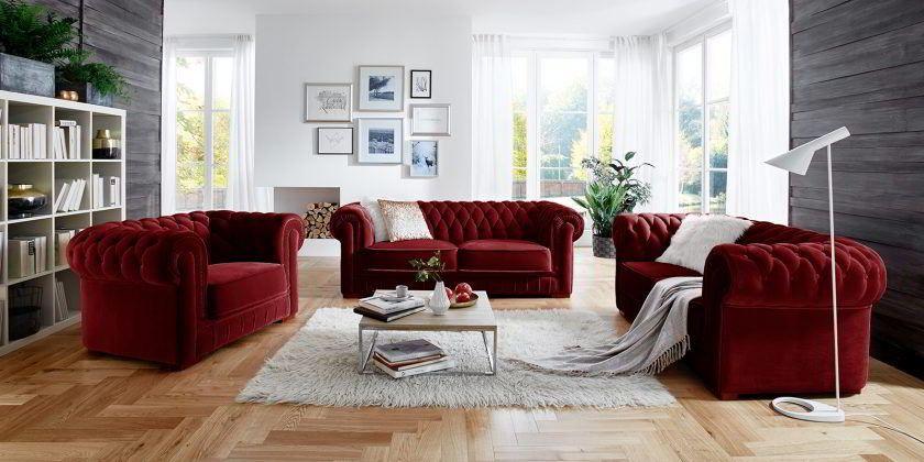 Barock Chesterfield Sofa Garnitur 3 2 1 Stoff Samt Dunkelrot Barock Knopfheftung Interior Home Decor Living Room