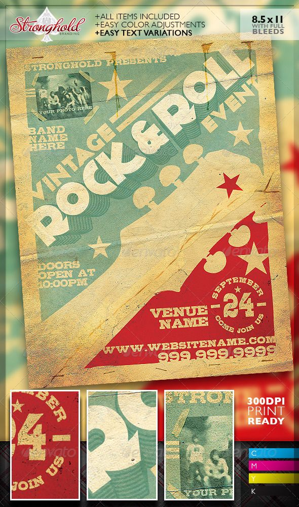 vintage rock roll concert flyer template concerts events wall