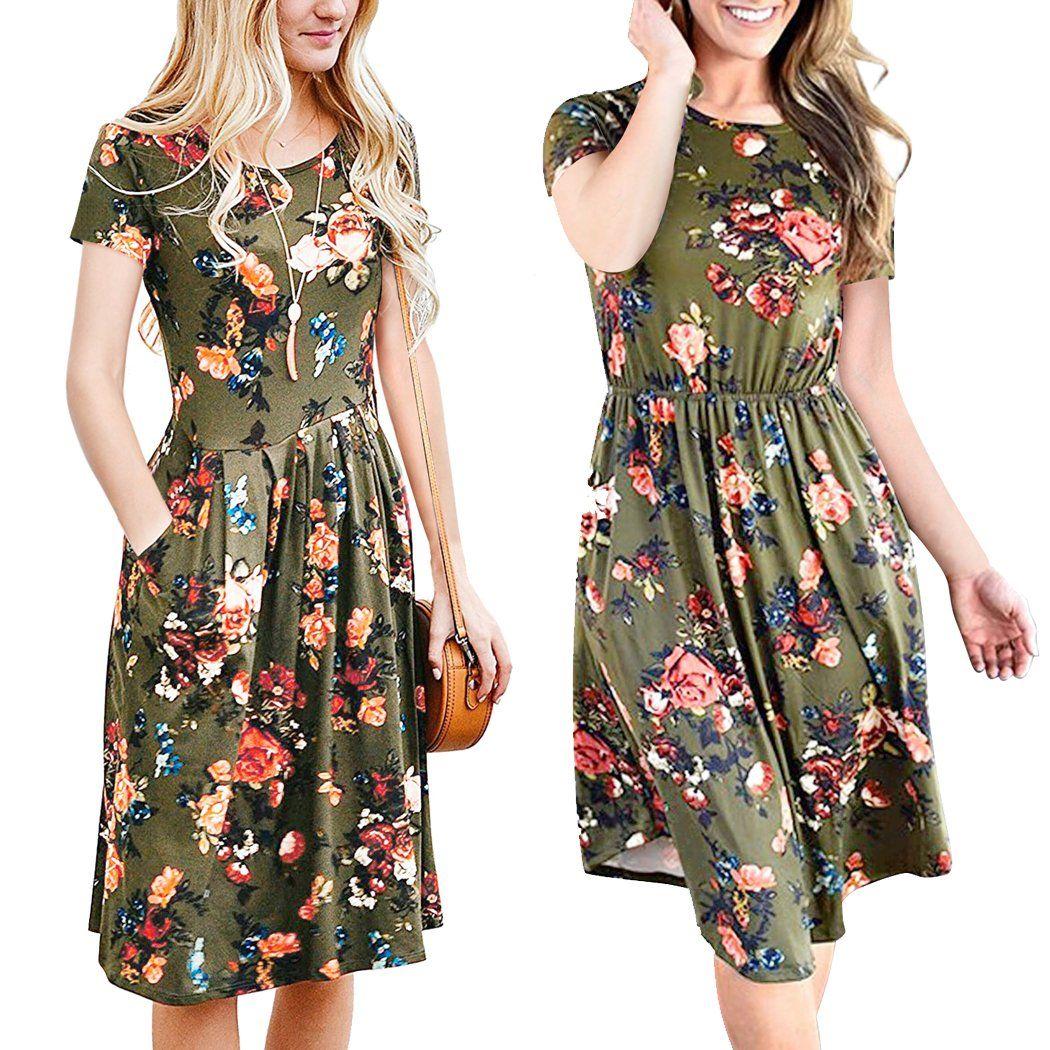 37b4942ffbd Maternity Fashion - ECOWISH Womens Dresses Summer Floral Short Sleeve  Elastic Waist Vintage Retro Midi Dress with Pockets Green M     See the  photo web link ...