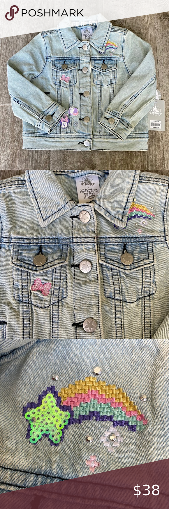 Nwt Disney Minnie Mouse Toddler Jean Jacket 3t Toddler Jeans Disney Jacket Jean Jacket [ 1740 x 580 Pixel ]