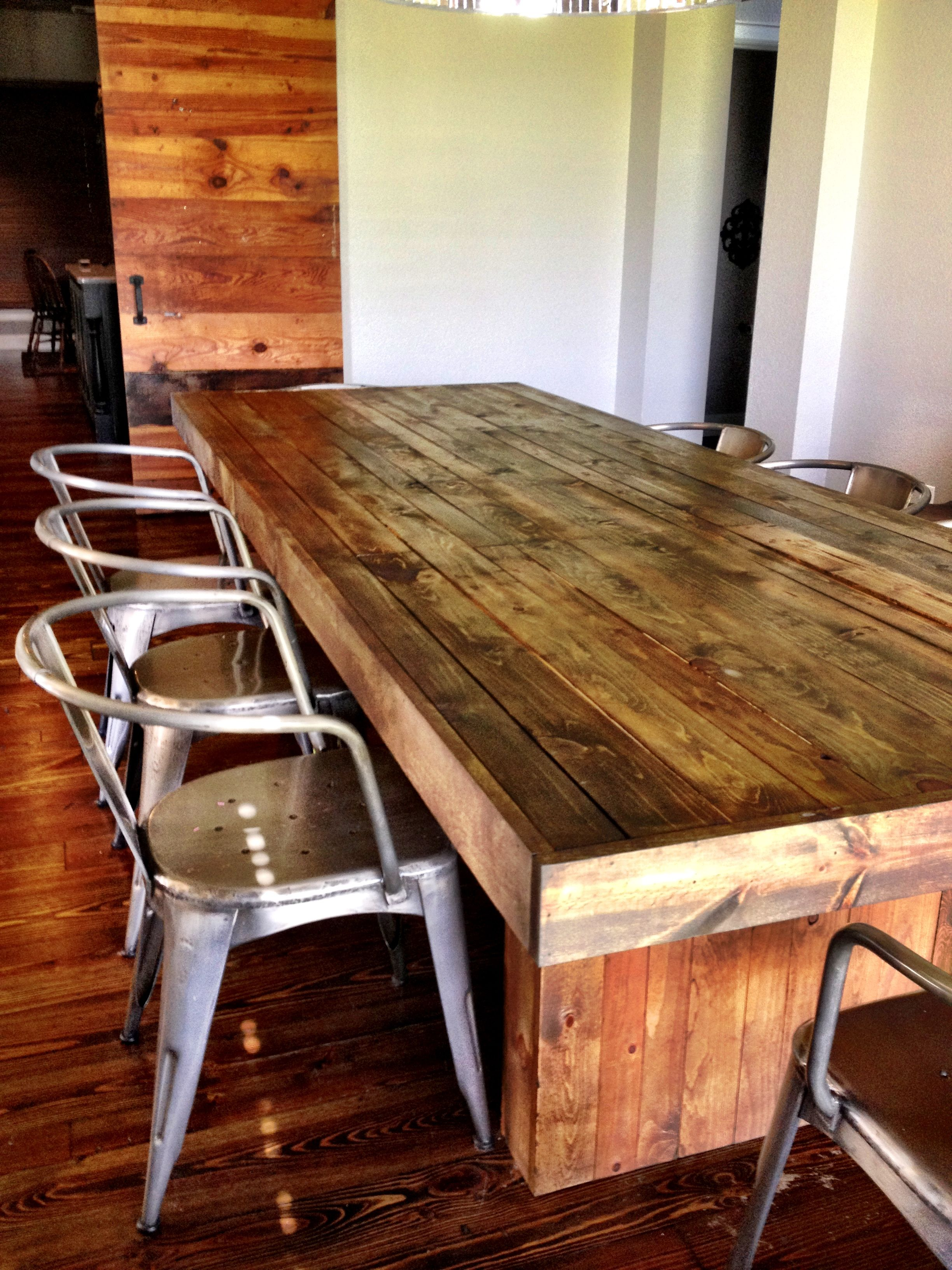 diy reclaimed wood dining table inspired by west elm cost under 300 my pinspired projects. Black Bedroom Furniture Sets. Home Design Ideas