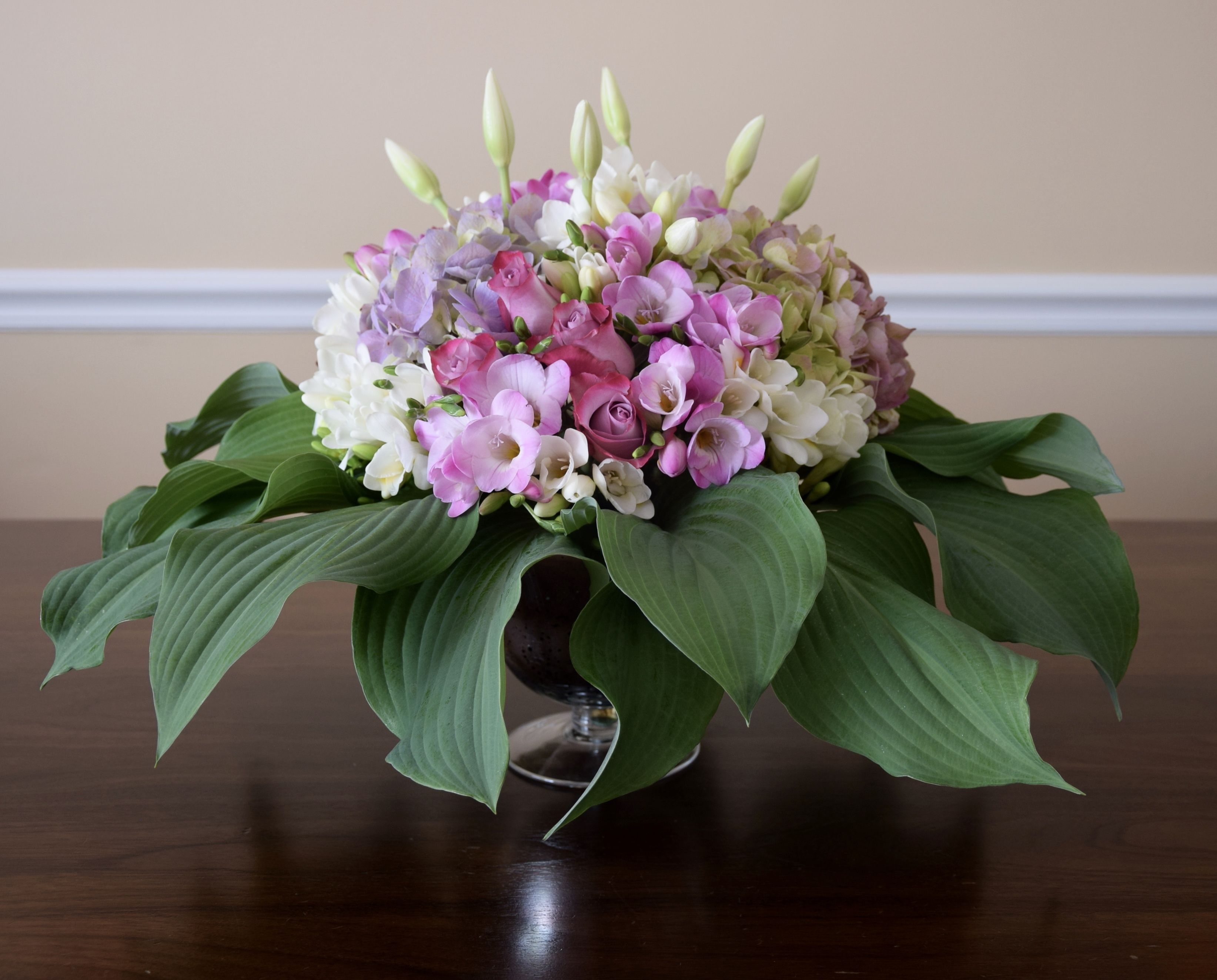 Thank you flower arrangement with lots of hydrangeas and freesias thank you flower arrangement with lots of hydrangeas and freesias izmirmasajfo