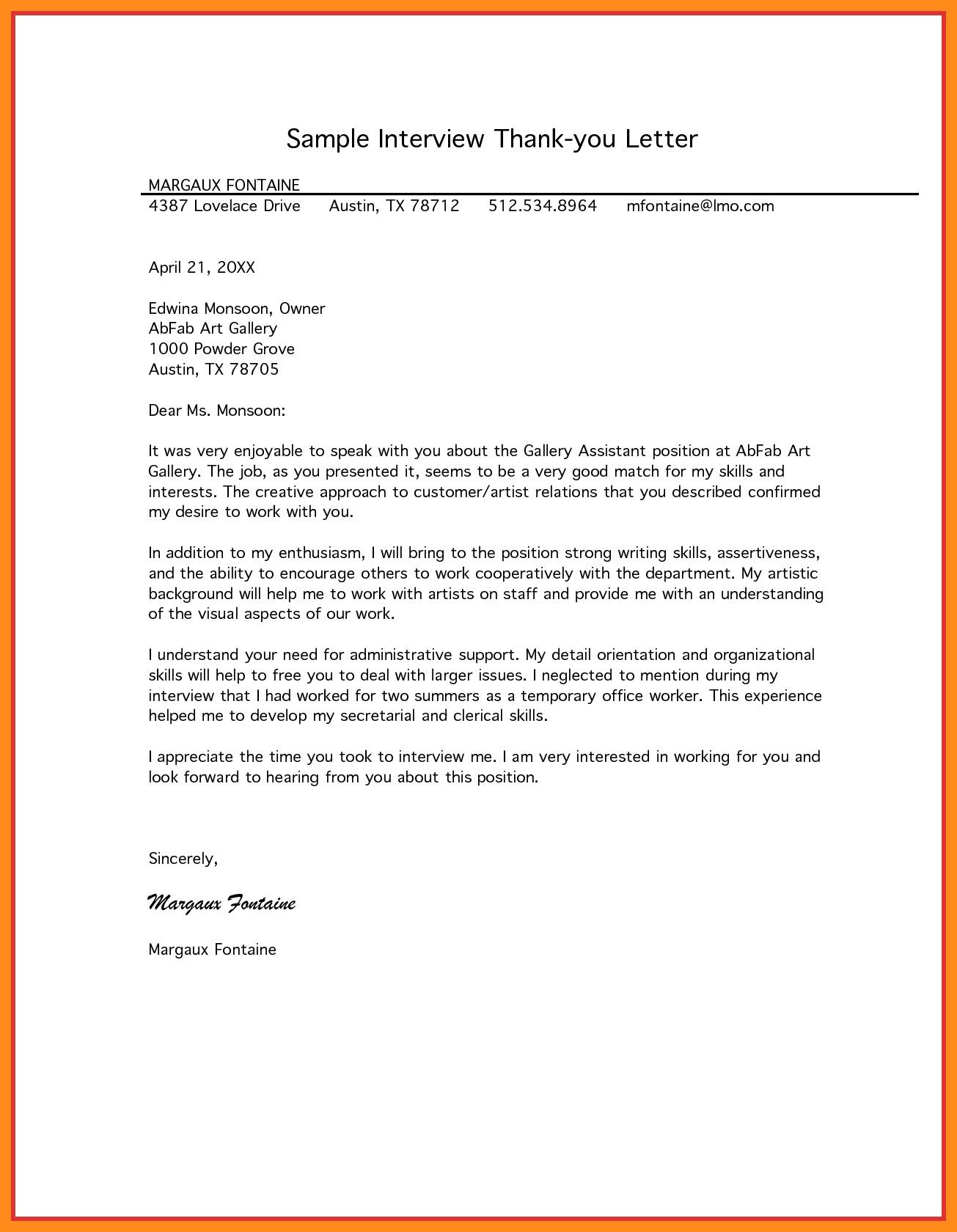 Sample Residency Interview Thank You Letter Inspirational 11 12