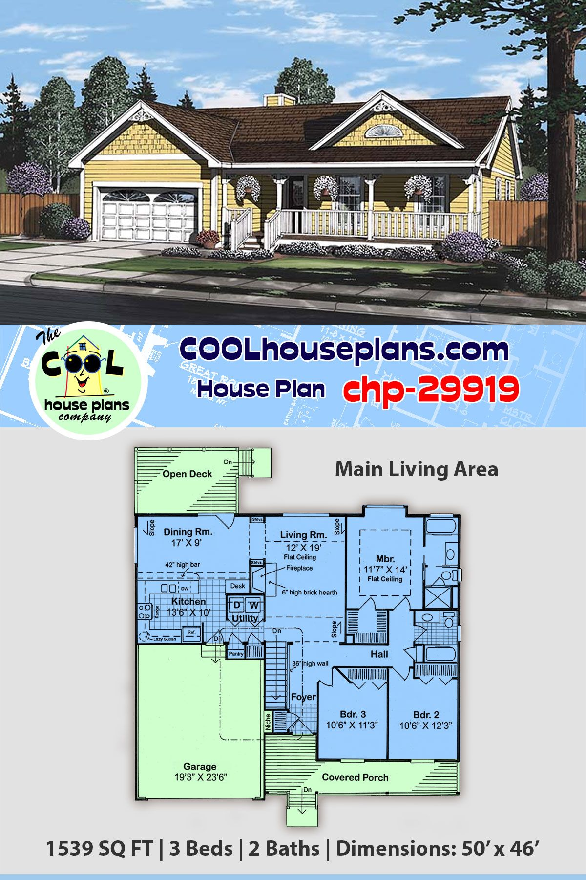 Cool House Plan Chp 29919 Has 3 Beds 2 Baths 2 Car Garage 1539 Sq Ft Affordable Home Plans House Plans Ranch House Plans Best House Plans