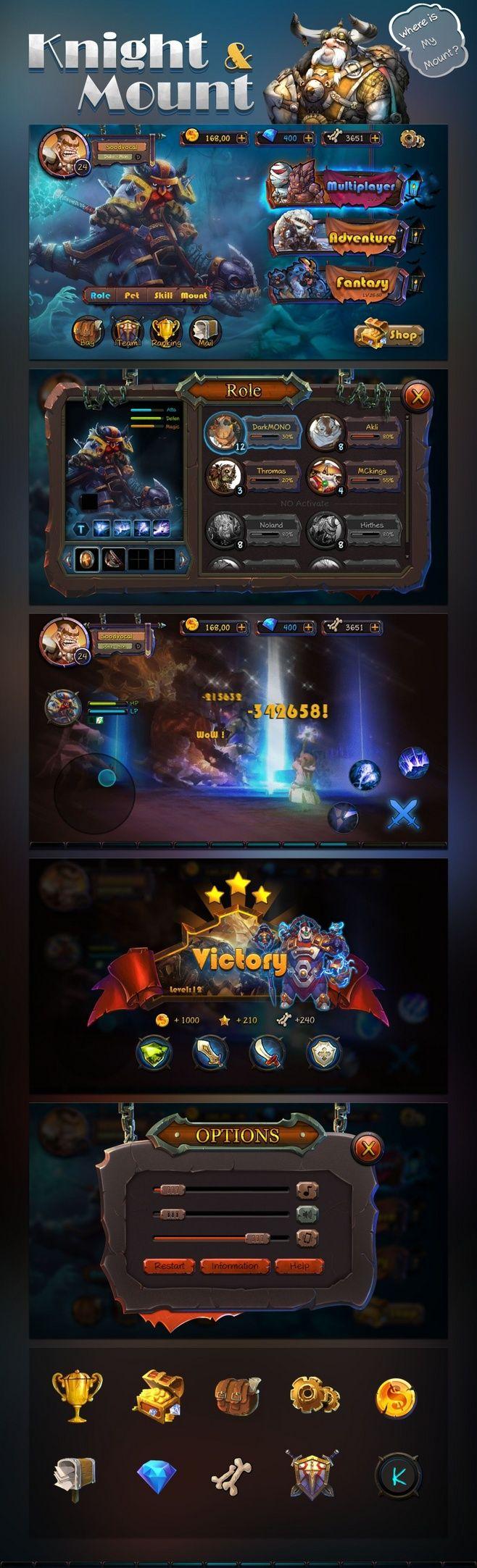 《knight mount》卡通战斗游戏UI_点击查看原图