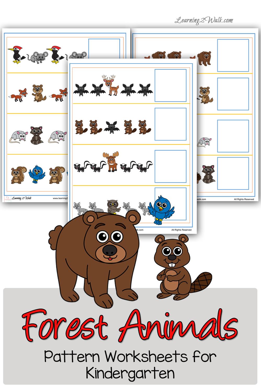 Forest Animals Pattern Worksheets for Kindergarten | Pinterest