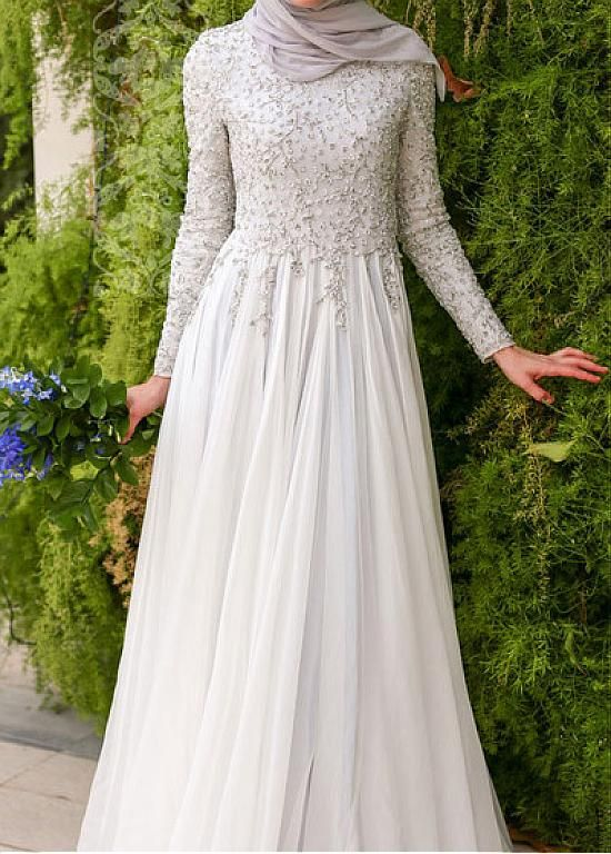 Glamorous Silk-like Chiffon Natural Waistline A-line Arabic Islamic Wedding Dresses With Beaded Embroidery