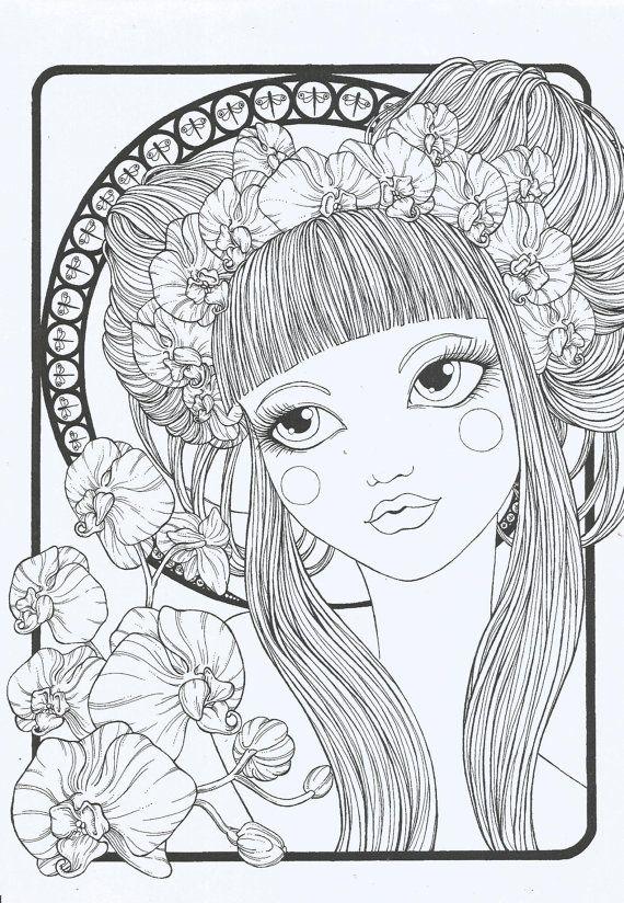 Cahier de coloriage floral girls par pennelliefantasia sur - Cahier de coloriage disney ...