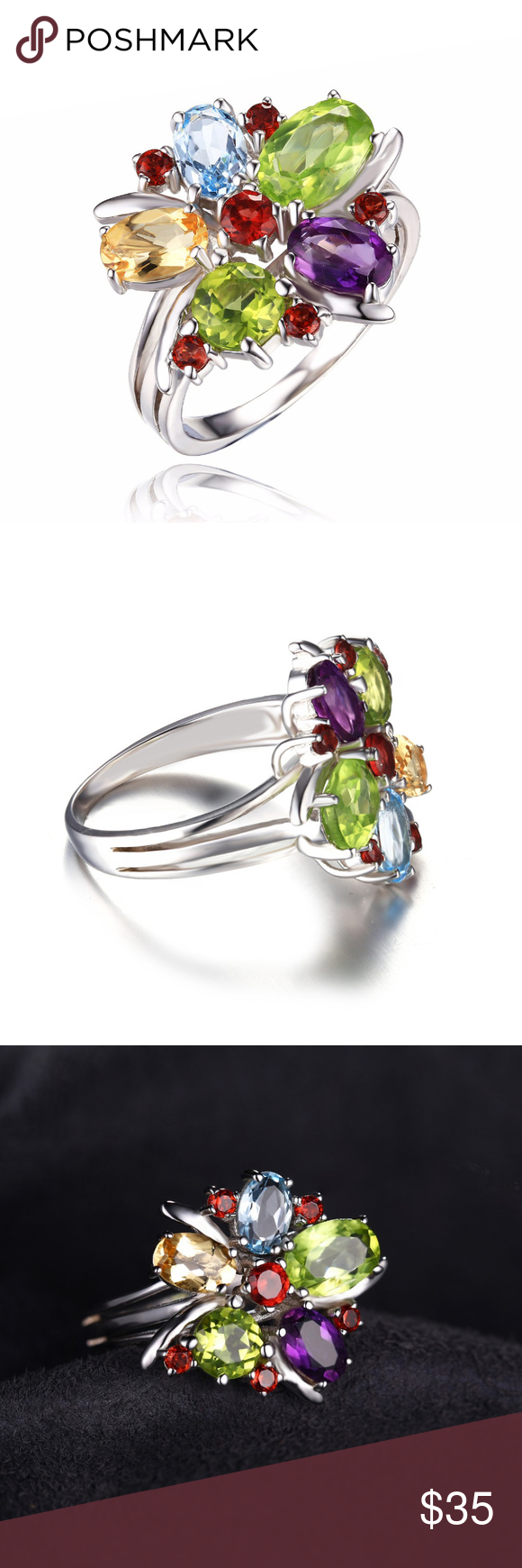 Amethyst Gemstone 925 Sterling Silver Ring Silver Jewelry Garnet Unique Ring Natural Peridot Citrine Flower Design Ring