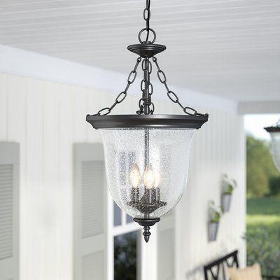 "Laurel Foundry Modern Farmhouse Madonna 3 -Bulb 25.5"" H Outdoor Pendant   Wayfair"