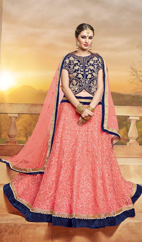 pink velvet circualr lehenga choli for engagement partywear