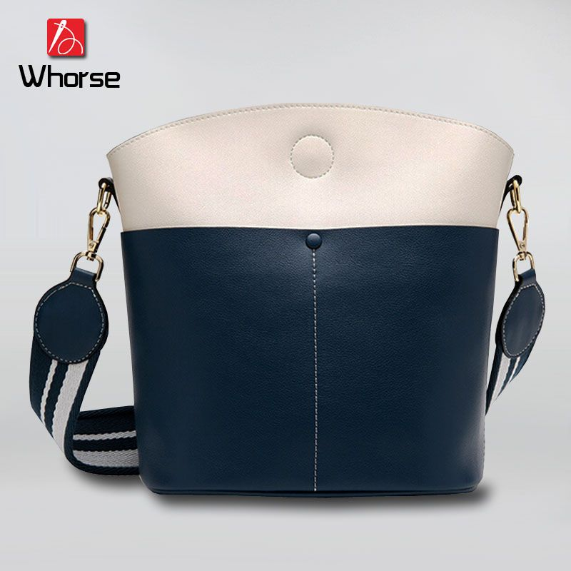 85c0711caa1cc [WHORSE] Luxury Brand Women Genuine Leather Bucket Bag Patchwork Wide Strap  Shoulder Bags Handbag