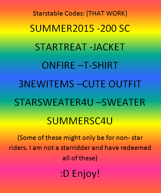 STARSTABLE CODES!!!!!! AT LEAST 1 NEW CODE EVERY 2 WEEKS