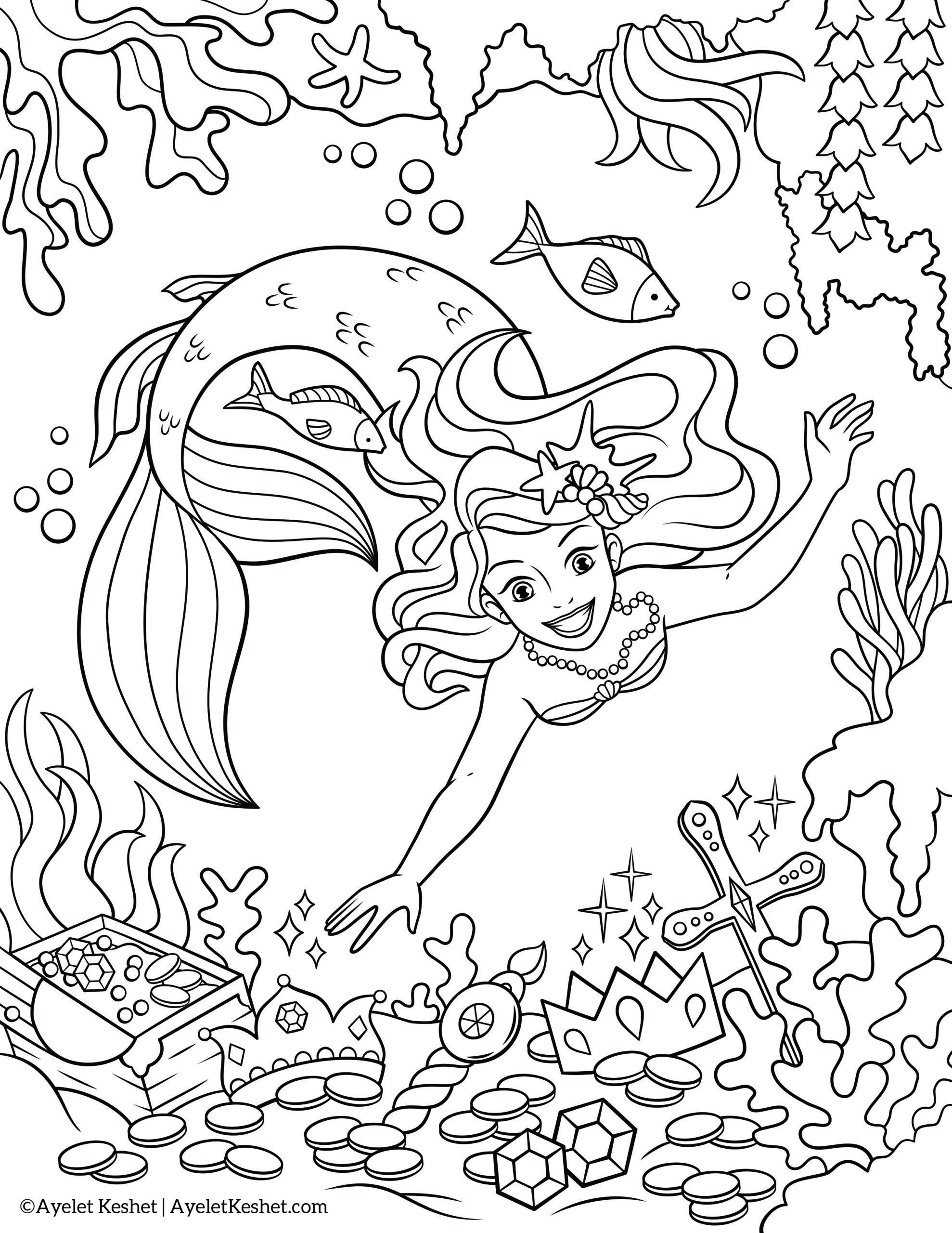 Mermaid Princess Coloring Page Disney Ariel Pages Baby
