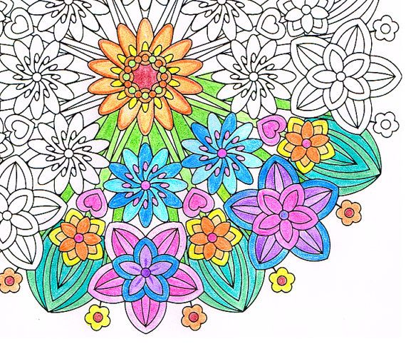 Flower Epiphany From The FlowerMandala Printable Coloringbook By CandyHippie