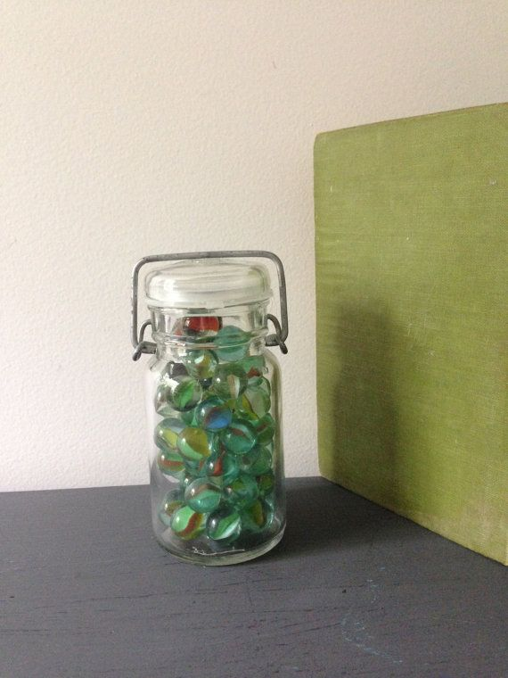 VINTAGE MARBLES Marbles in glass Jar Lot by AnnmarieFamilyTree