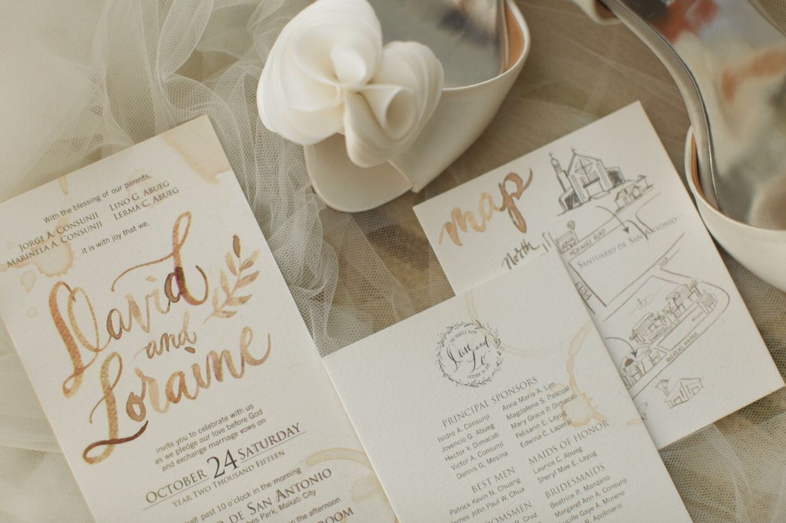 David and Loraine Bespoke Suite -- Coffee-inspired Invitation Suite ...