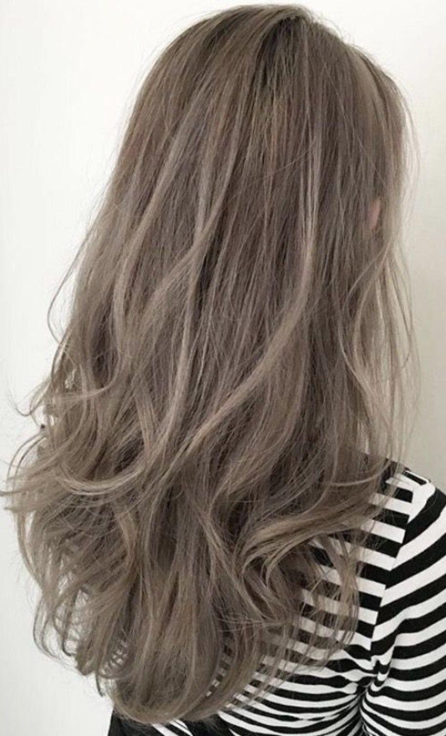 Grayish brown curly long hair   Ash brown hair color, Ash hair ...