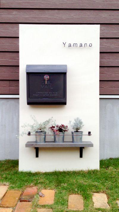 シンプルでかわいい感じの門柱 玄関 ネームプレート 門柱 家 外構