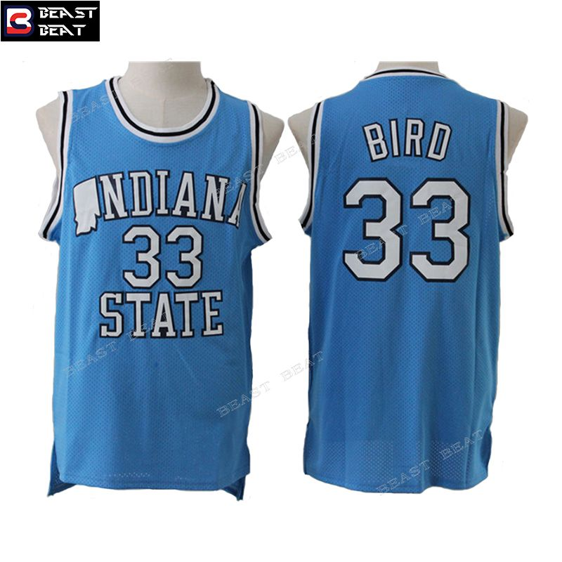sale retailer 52db7 05e21 Larry Bird #33 Indiana State Student Team Basketball Jerseys ...