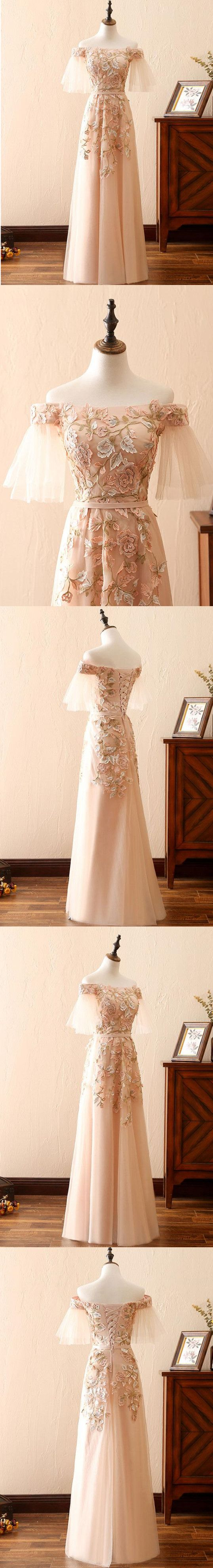 chic aline long prom dresses with applique vintage prom dress