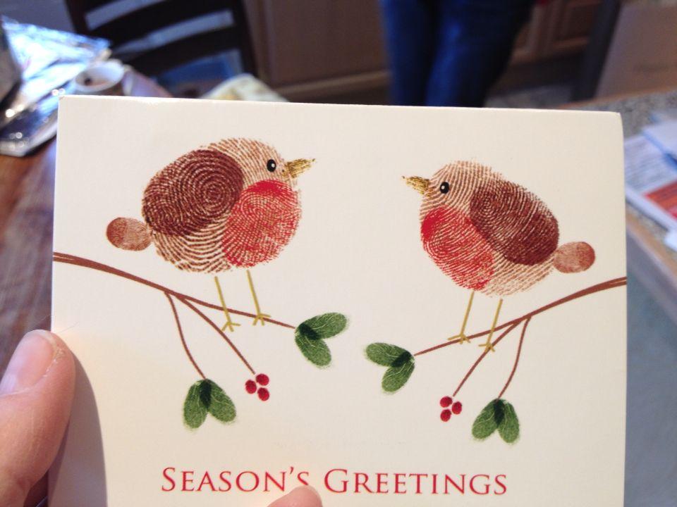 Christmas Robin Fingerprint Xmas Card By Clic Sargeant