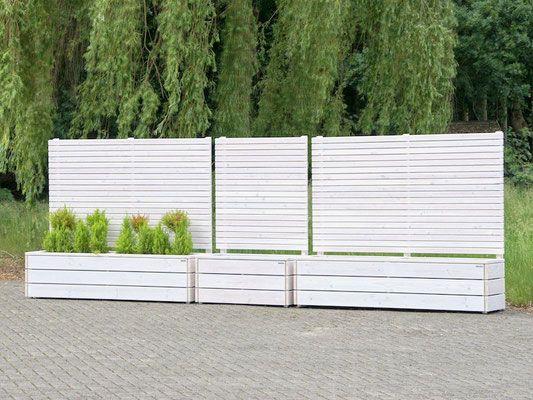 Pflanzkasten Holz mit Sichtschutz, Länge 112 cm & 212 cm