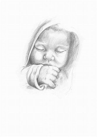 Image result for pencil sketch baby jesus baby Pinterest Baby